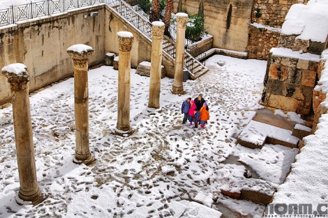 jerusalem cardo during snowfall