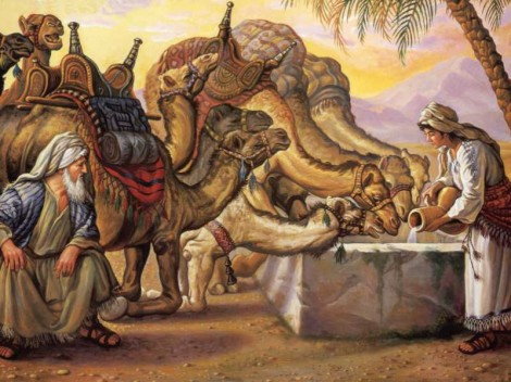 Rebekah watering the camels  for Eliezer
