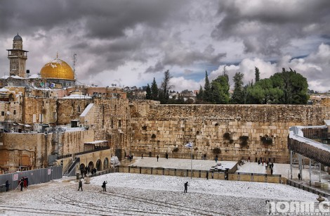 Snow at jerusalem's temple mount