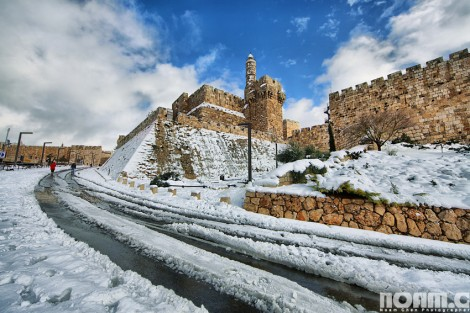 Tower of David under snow, Jerusalem