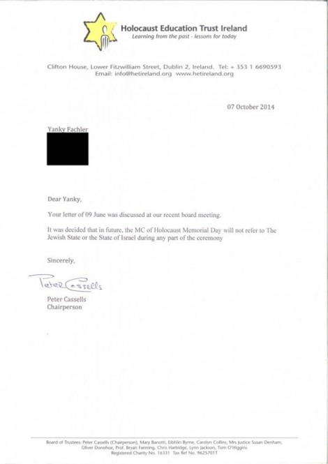 letter banning any mention to Israel