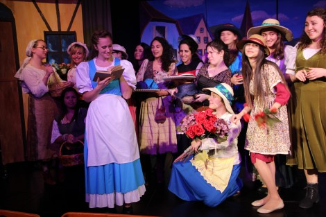 Shani Wahrman as Belle with the Beauty & the Beast ensemble. Photo credit: Laura Ben-David