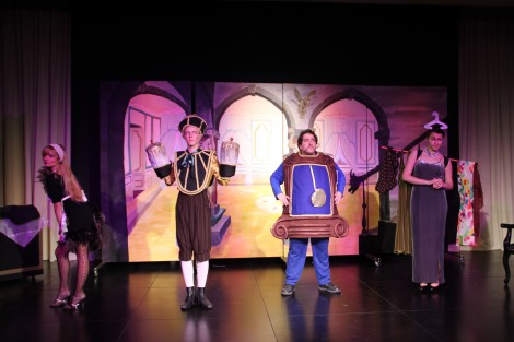 Babette, Lumiere, Cogsworth & Wardrobe. Photo credit: Laura Ben-David