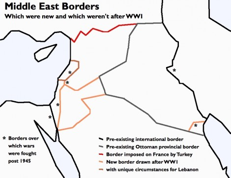 Middle East 'borders' and their origins. {from http://www.midafternoonmap.com/2014/02/another-look-at-middle-east-borders.html; free to use or share, even commercially}