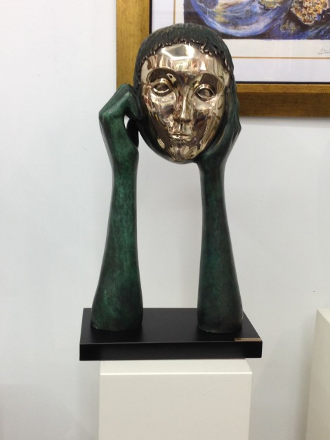 Sculpture of the mask used to escape from Dachau Photo by Steve Shalot