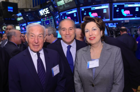 Ruby Shamir at the New York Stock Exchange, with (from left) AIFL Chairman Kenneth Bialkin and David Ben Hooren, publisher of The Jewish Voice.