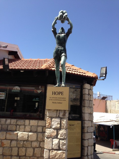 "This is an original of the famous statue ""the Hope"" at the entrance to the ""Soul and Art"" gallery in Safed Photo by Steve Shalot"