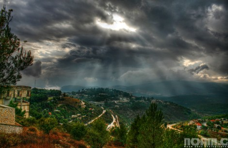 ray of light above galilee mountains israel
