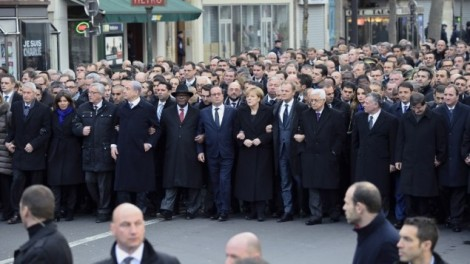 World leaders and local officials marching in Paris on January 11, 2015. (photo credit: AFP/Erick  Feferberg)