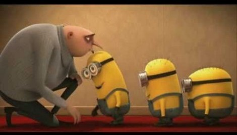 Gru kissing lined-up minions
