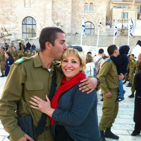 Anett Haskia with her son who is in the IDF