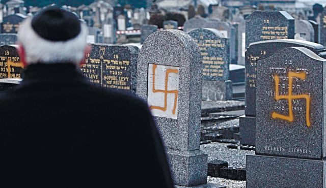 A Jewish cemetery recently desecrated in northeastern France.