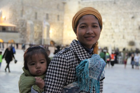 Mother and baby, 1st time at the Kotel