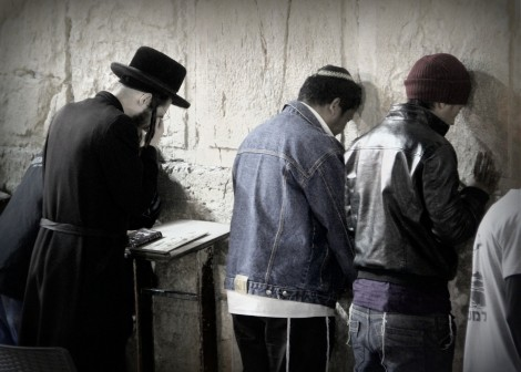 Bnei Menashe men pray at the Kotel for the 1st time - Photo credit: Laura Ben-David