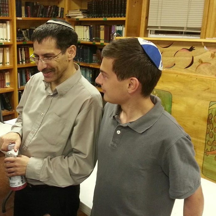 David Aaronson with Uri Orbach (left), during the latter's visit to the Camp Moshava in 2013.