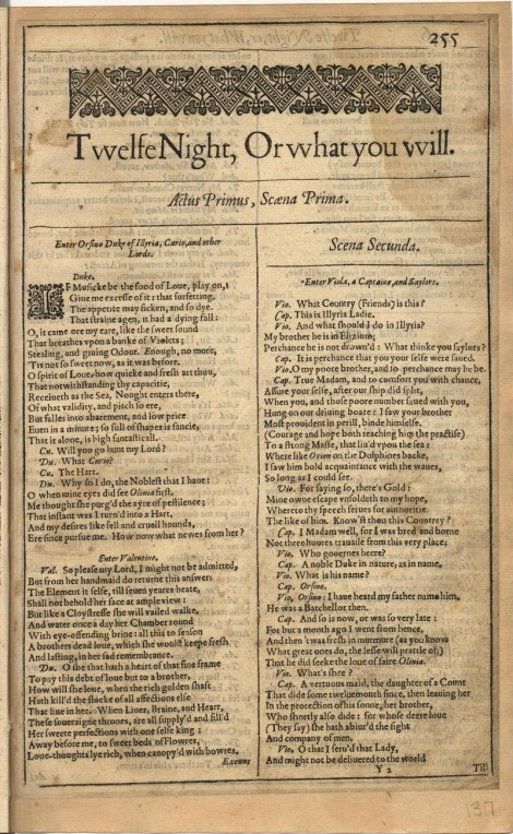 Twelfth Night - First Folio (Courtesy of Brandeis University)