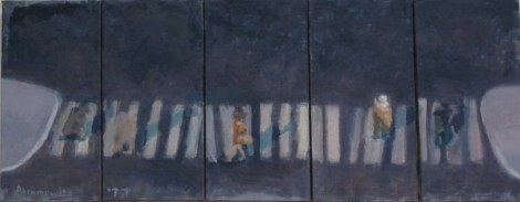 Coming and Going 2014 oil on linen 40 x 100 © 2015 by Heddy Abramowitz