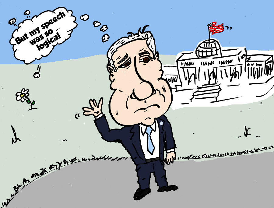 Visiting Congress, Benjamin Netanyahu caricature by laughzilla