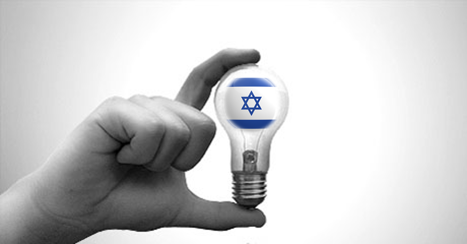 Israel Nation of Ideas (hand holding lightbulb with Israeli flag inside)