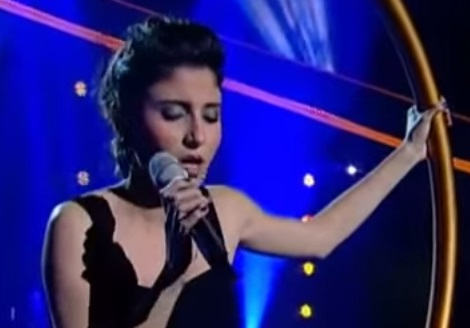 Lina Makhoul, an Arab Israeli singer. In 2013, Lina won the Israeli version of The Voice, with a majority of votes from the 'racist Israelis' (who, apparently, did not read the Pew script!) {Youtube screen capture}