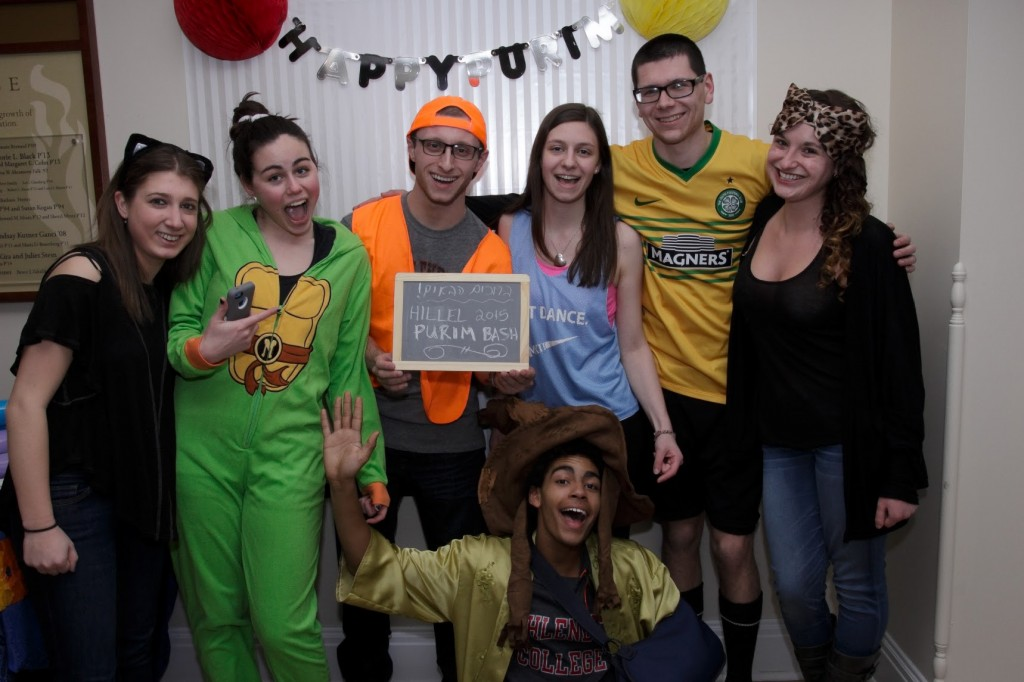 Muhlenberg students enjoying the Hillel Purim Bash.