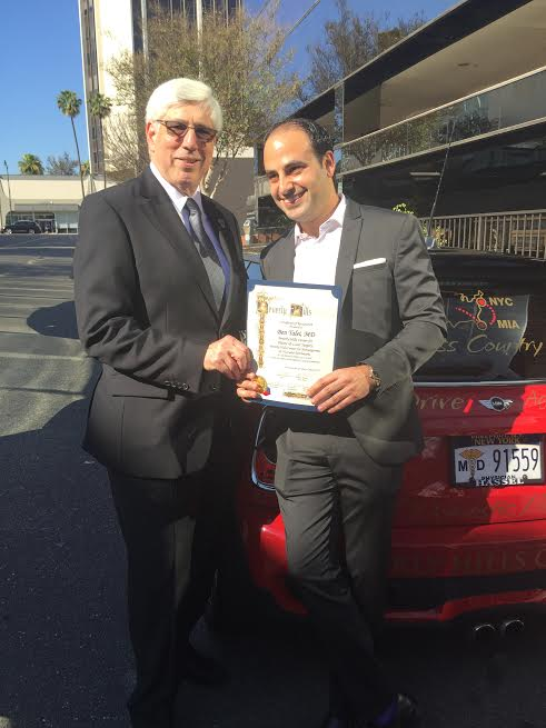 L-Beverly Hills Mayor, Dr. Julian A. Gold, MD and Dr. Ben Talei with the City of Beverly Hills certificate of recognition-Photo N Greenger