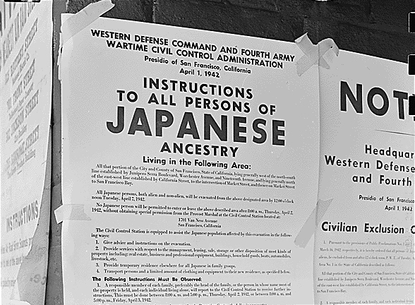 US poster instructing 'All Persons of Japanese Ancestry' to prepare for deportation {public domain}