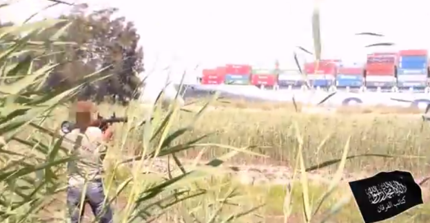 Al-Furqan firing rockets at COSCO Asia in Suez Canal