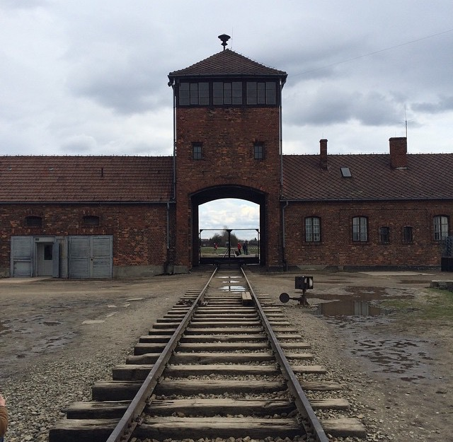 The gate to Auschwitz II - Birkenau