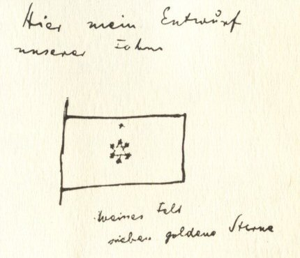 Herzl's proposed flag, as sketched in his diaries. Although he drew a Star of David, he did not describe it as such.