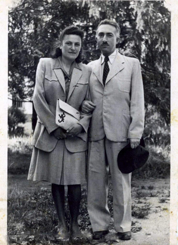 Judith and Bill Rubinstein on their wedding day, June 9, 1947,  UNRWA Camp for Displaced Persons, Grugliasco, Italy.