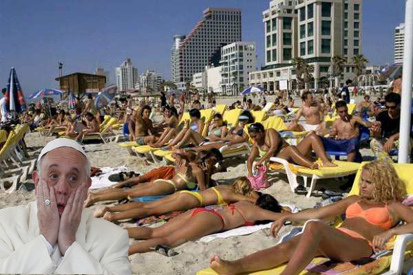 Pope on beach