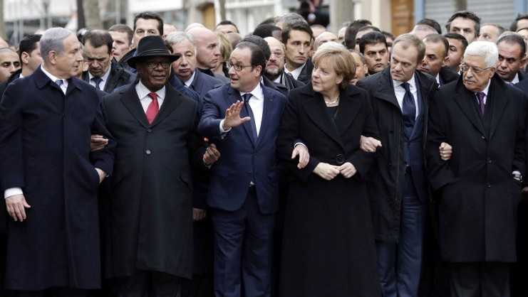 Along with other world leaders, Chancellor Angela Merkel (to the centre-left of the picture) at the rally against terrorism in Paris.