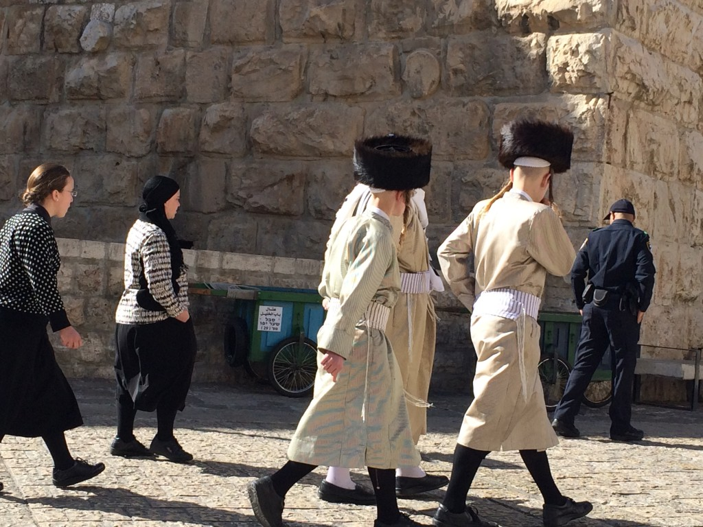 Shtrimel wearing Jews in the Christian Quarter of the Old City.