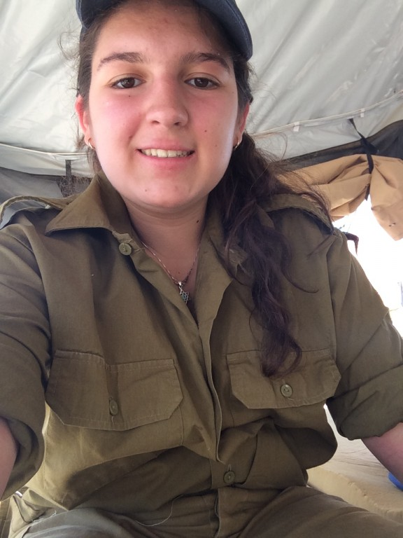 Me in my tzevet's tent, in uniform.