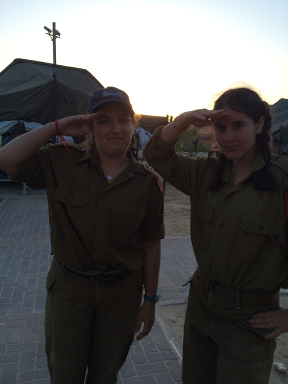 A friend (right) and me (left) saluting