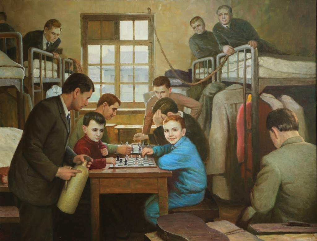 Oil painting, Refugee Shelter (Photo Credit: CC - BY Zhang Ping, Chinese Jewish Cultural Foundation)