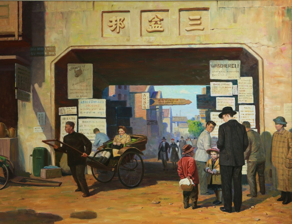 Oil painting, The small Alley (Photo Credit: CC - BY Zhang Ping, Chinese Jewish Cultural Foundation)
