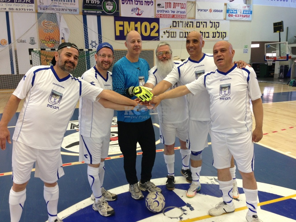 The author, second from the left, on the Knesset soccer team