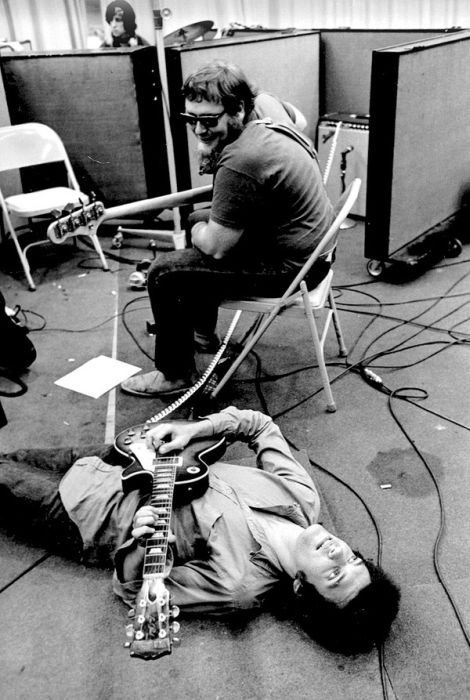 Guitarist Harvey Brooks (on the floor) and bassist Michael Bloomfield (Photo courtesy of Michael Bloomfield)