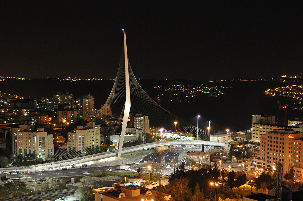 Jerusalem's Bridge of Strings (finished in 2008) resembles the strings of a harp and let's you know you've entered Jerusalem and are close to the wine themed Prima Park Hotel