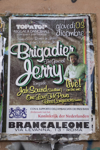 Poster for Brigadier Jerry gig in Rome