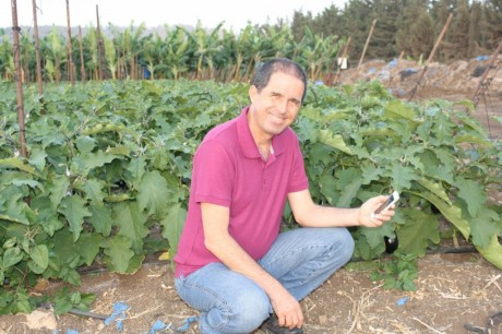 Isaac Bentwich, CEO of CropX, using his smartphone to monitor soil moisture. (Credit: CropX)