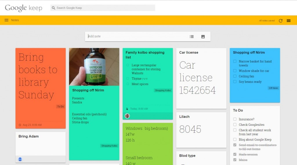 Google Keep on computer
