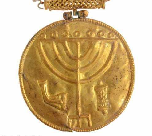 Gold medallion found at the foot of the Temple Mount depicting the Temple Candelabrum