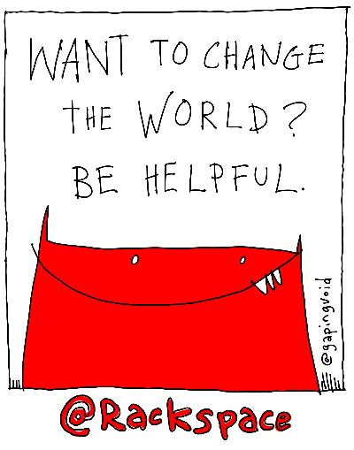 #BeHelpful.  That's my mission in Israel.   Artwork for Rackspace by Gapingvoid