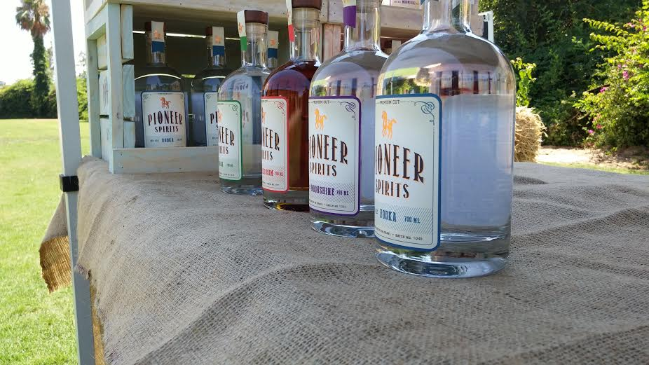 Pioneer Spirits come in bottle that look like moonshine jugs or bourbon whiskey bottles and speak to the Tennessee roots of the Neilson family