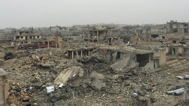 The scale of destruction in a Kurdish town of Kobane