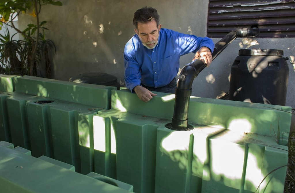 Andy Lipkis, founder of TreePeople, is building cisterns to collect rainwater in Los Angeles. (James Kellogg, courtesy of TreePeople)