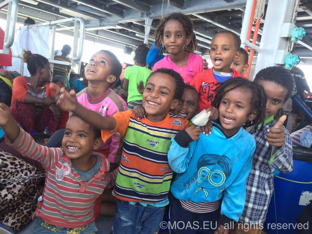 Children Aboard M.Y. Phoenix after MOAS Search and Rescue Operation